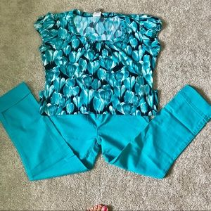 NWOT Worthington stretch top SZ: XLg Bl/Turquoise